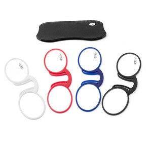 Портативный силиконовый зажим нос очки для чтения экстра-тонкий бумажник очки ультралегкое круглое увеличительное стекло + 100 + 150 + 200 + 250 + 300 ...