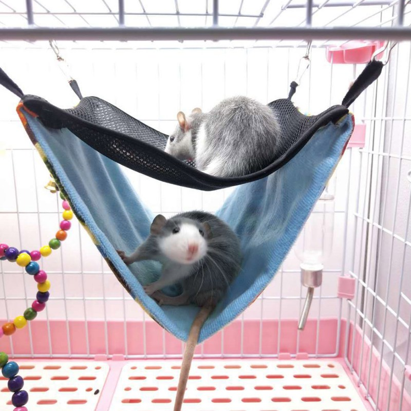 Small Pets Double-layer Canvas Hanging Bed Hammock For Squirrel, Hamster, Chinchillas