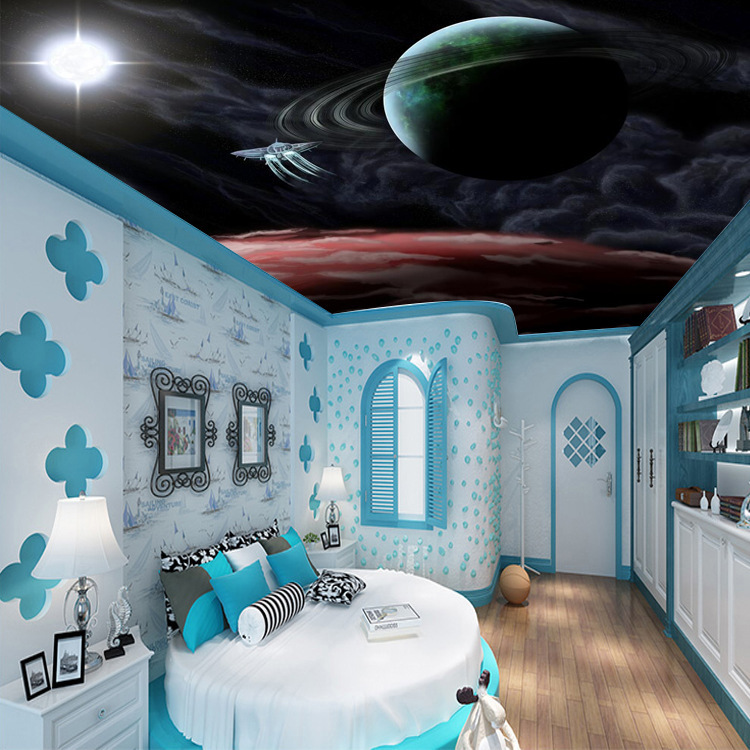 KTV Bar Ceiling 3D Large Mural Cosmic Starry Sky Wall Bedroom Ceiling Wallpaper Stereo Wallpaper