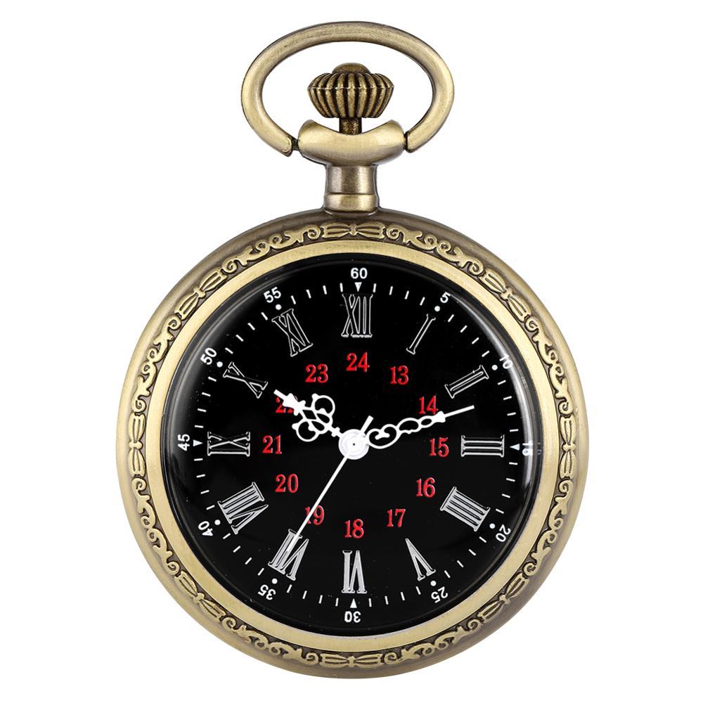 Vintage Steampunk Pocket Watch No Cover Neckalce Clock Roman Numerals Dial Bronze Pendant Watches Fashion Men Women Gift