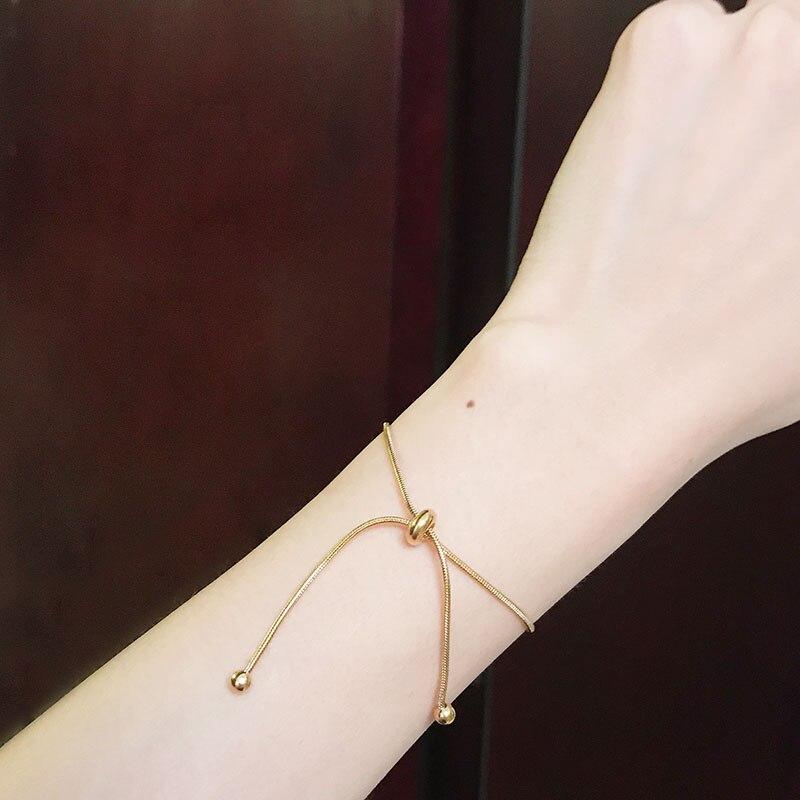 YUN RUO браслет из розового золота, цветная змеиная цепь, регулируемый модный женский подарок, ювелирные изделия из титановой стали 316 л, никогда не выцветает, Прямая поставка