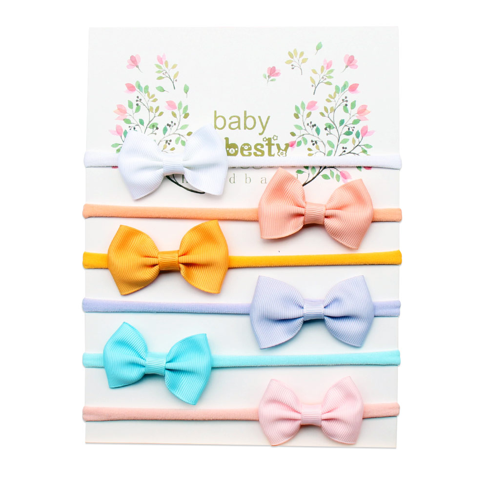 6 Pcs/set Solid Mini Bow Knot Head Band For Baby High Elastic Cotton Hair Band Handmade Colorful Band Hair Accessories