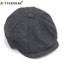 BUTTERMERE Black Wool Cap Men Herringbone Newsboy Vintage Tweed Flat Caps Striped Winter Spring Male Female Hats Beret