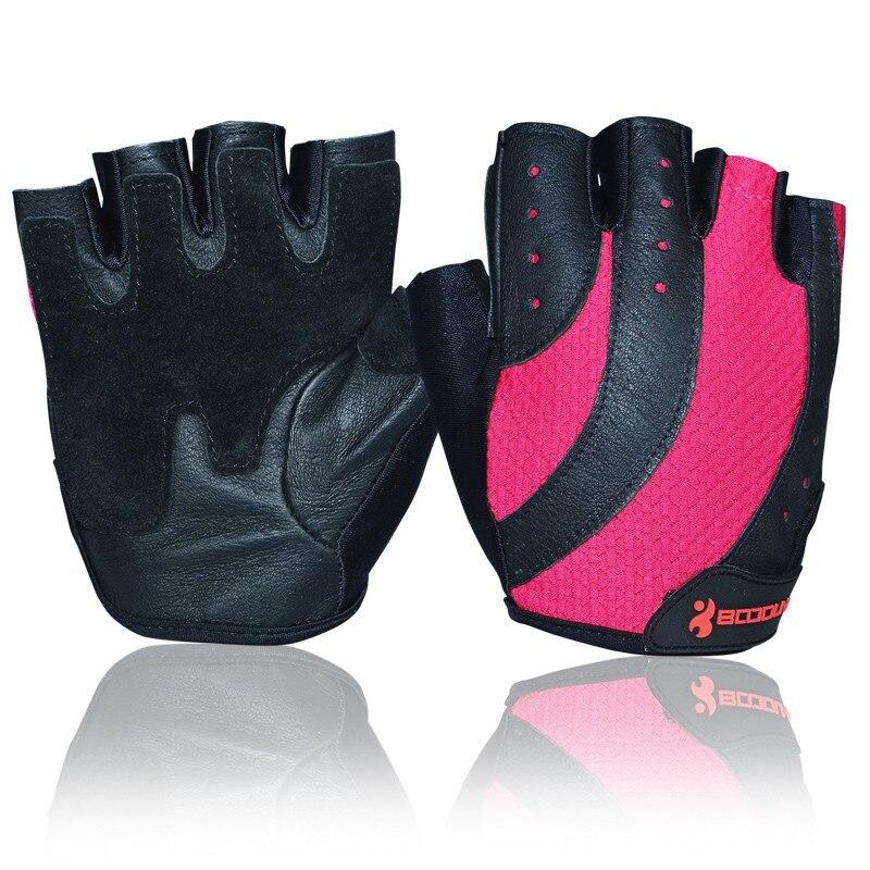 Luvas de ginásio feminino metade do dedo couro respirável treinamento de fitness crossfit luvas esportivas levantamento de peso luvas de musculação