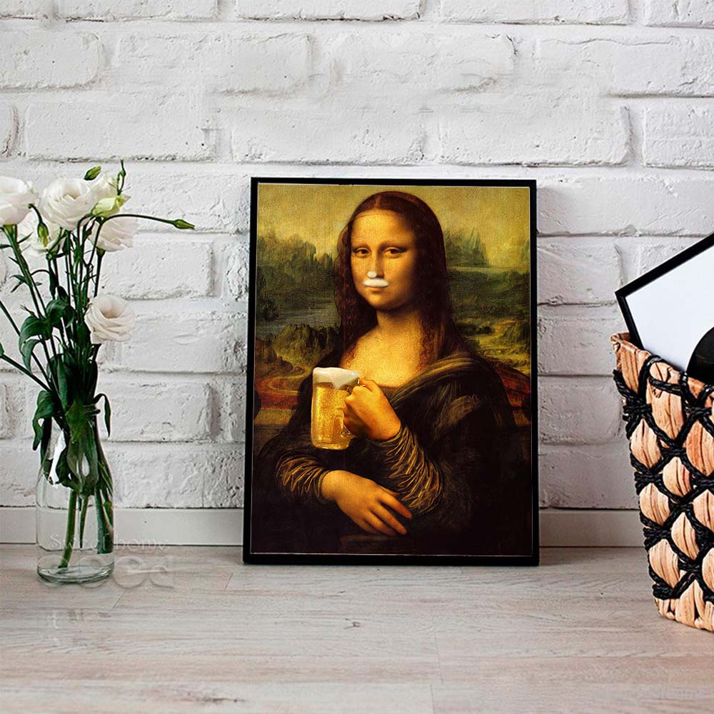 Wall Art Nordic Style Minimalism Mona Lisa Poster Canvas Prints Beer Painting Modular Picture Modern Home Decoration Living Room in Painting Calligraphy from Home Garden
