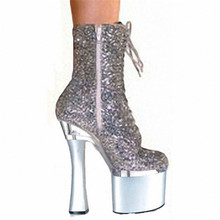 Sky high thin heel nightclub stage performance shoes 15cm super thin heel shoes women's boots medium boots(China)