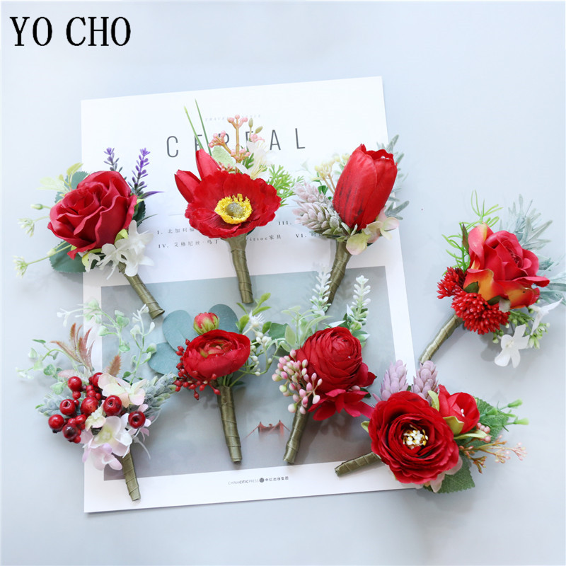 YO CHO Groomsmen Boutonniere Red Rose Tulip Bridesmaid Wrist Corsage Sims Azalea Bracelet Party Prom Wedding Corsage Silk Flower