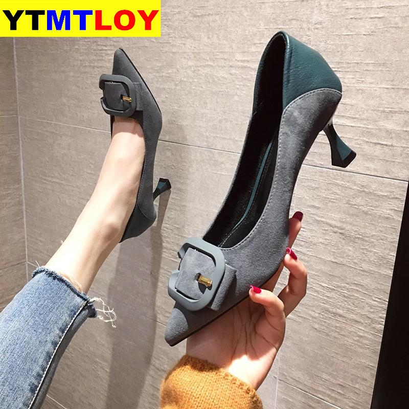 Pointed Toe Fetish Luxury Designer Woman Extreme Mules High Heels Women Sexy Shoes Ladies Green Pumps Wedding  Buckle Fashion