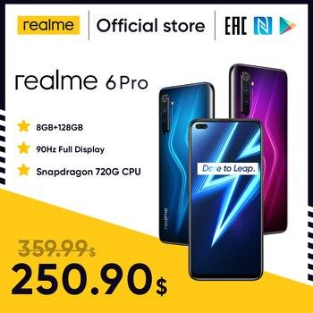 Перейти на Алиэкспресс и купить Realme 6 Pro мобильный телефон 6,6 дюймов 90 Гц Дисплей 64MP Cam 8 ГБ 128 Snapdragon 720G смартфон мобильный телефон