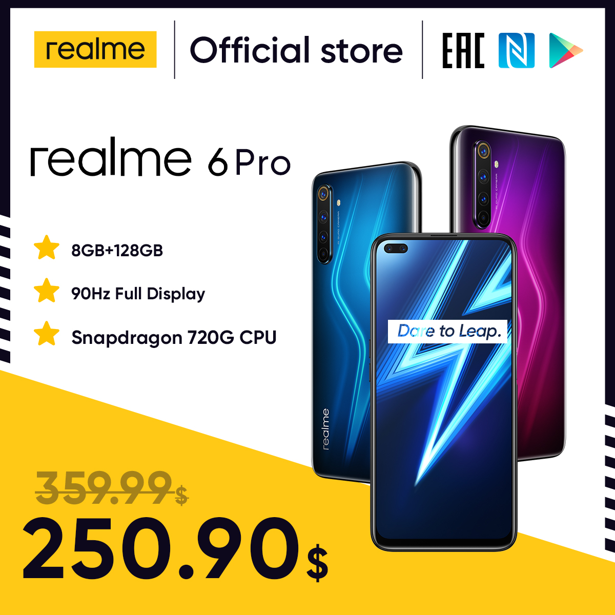 Realme 6 Pro Mobile Phone 6.6inch 90Hz Display 64MP Cam 8GB 128GB Snapdragon 720G Smartphone Cellphone(China)