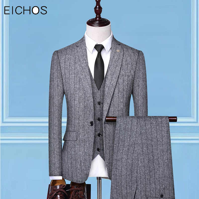 2020 Three-piece Slim Suit Men Blazer Wedding Male Groom Suits Best Men Formal Brand Prom Single Breasted Stripes Tuxedo Man