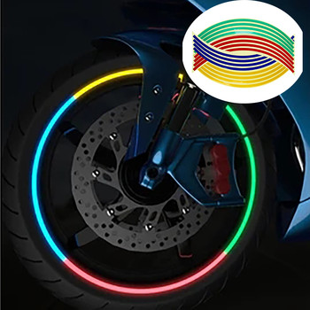 Tops Car Accessories Bicycle Carro Wheel reflective stickers 16 strips with reflective Strip Wheels Car Sticker for bmw e46 image