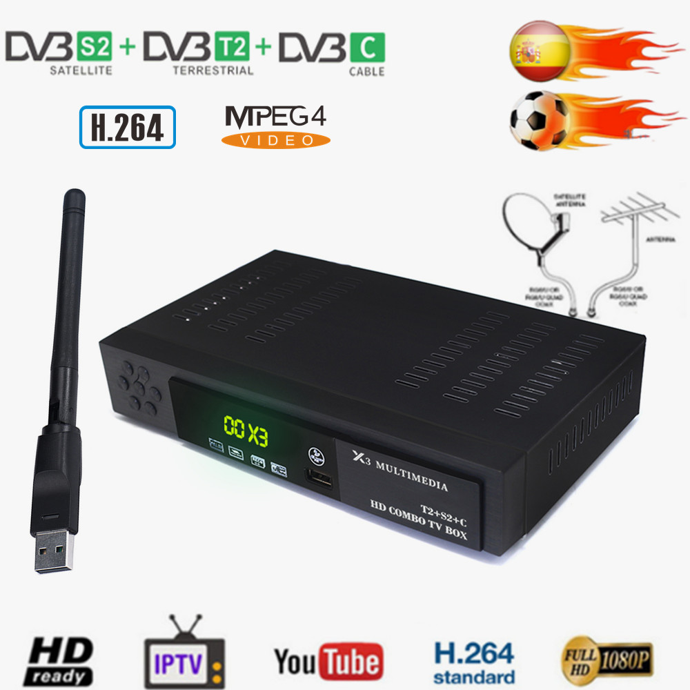 Vmade DVB T2/S2 + DVB C Combo HD Digital Terrestrial Satellite TV Receiver + WIFI H.264 MPEG4 IPTV Box Support AC3 Cccam Youtube-in Satellite TV Receiver from Consumer Electronics