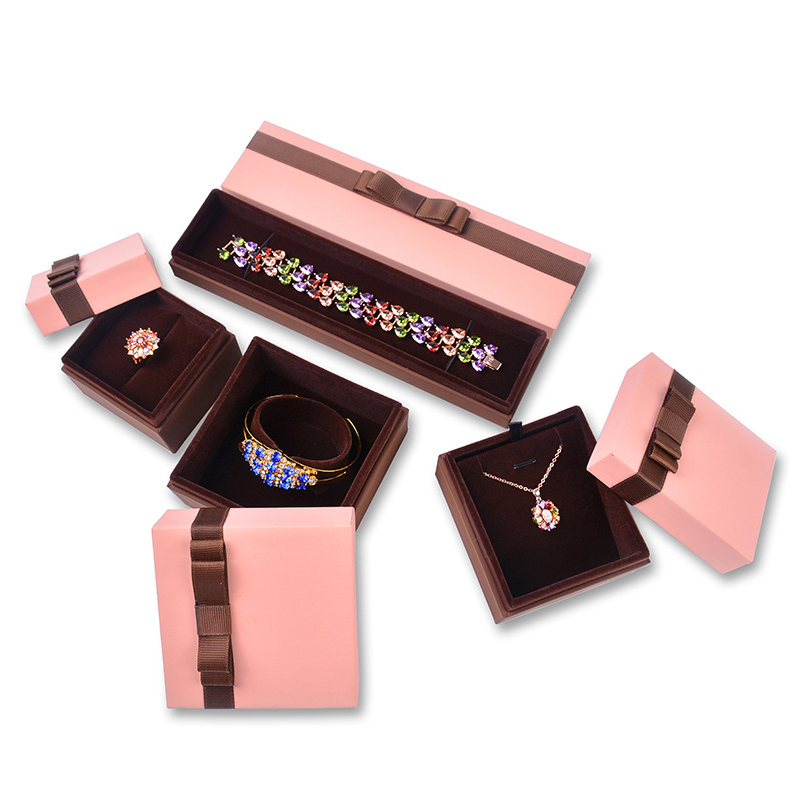 Pink Valentine Ribbon Bowknot Gift Necklace Boxes Bracelet Holder Display Jewelry Packaging Box