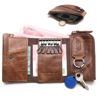 NEW 100% Genuine Leather Housekeeper Men Wallet Car Key Key Coin Purse Case Key Holder Wallet Organizer Bag Small Portfolio