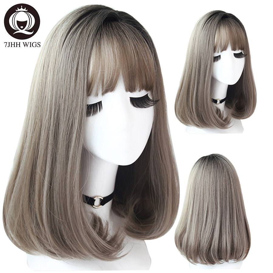7JHH WIGS Omber Ash Brown Wig With Bangs For Women 20 Inch Natural Black Straight Hair Heat Resistant Noble Cosplay Wigs