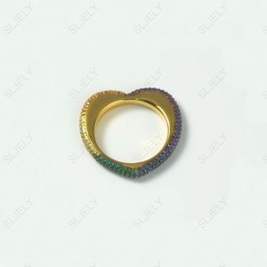 Image 4 - SLJELY High Quality 925 Sterling Silver Gold Color Rainbow Love Heart  Geometric Finger Ring Paved Colorful Zirconia for Women