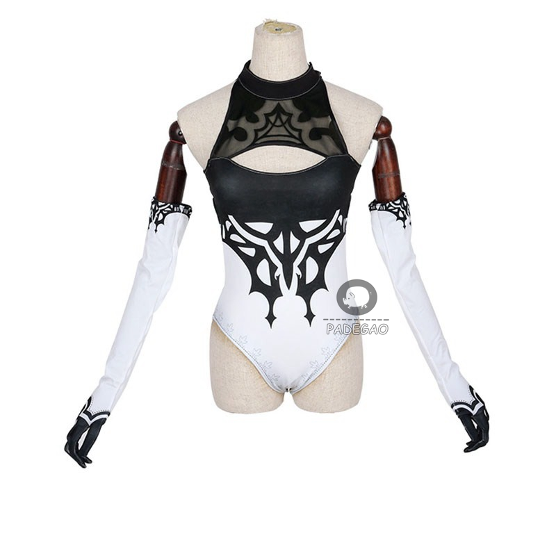 Game NieR: Automata YoRHa No 2 Type B Cosplay Costumes <font><b>Sexy</b></font> Black Swimsuit Gloves <font><b>2B</b></font> Synthetic Wigs For Women Girls Full Set image