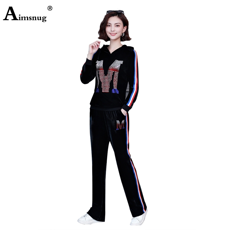 Aimsnug Plus Size 4xl 5xl Velvet Multicolor Splice Female Sets 2019 Autumn Women's  Hooded Hot Drilling Casual Sports Two-piece