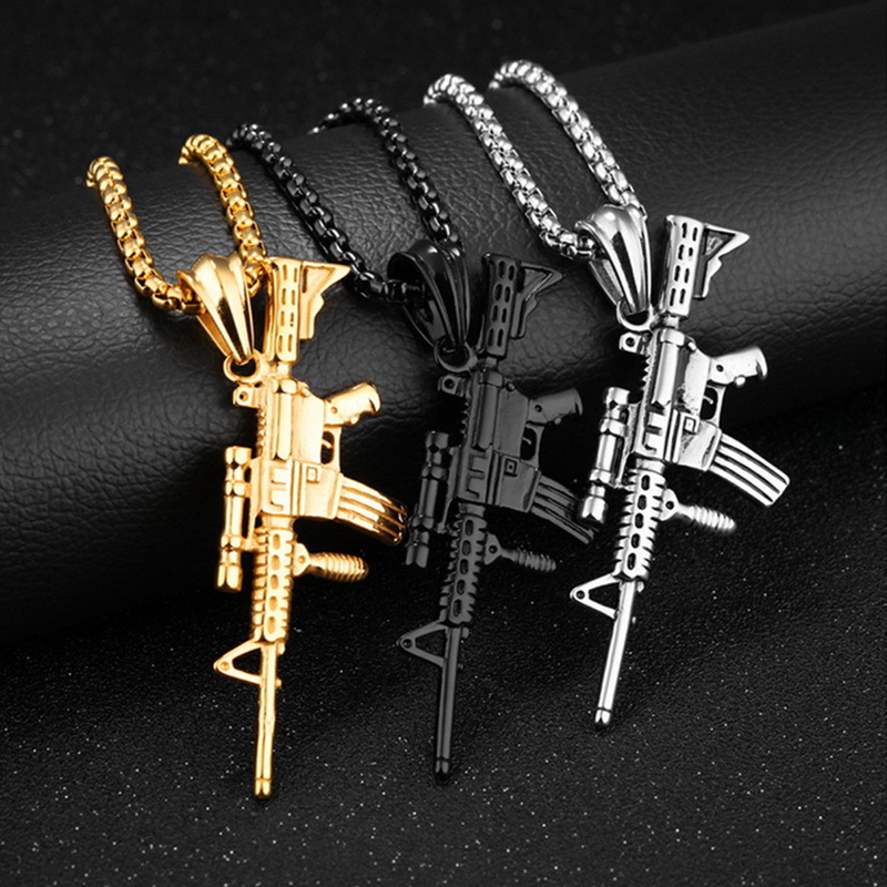 Personality M4 Gun Pendants Necklaces For Men Women Creative Male Hip Hop Punk Chain Necklace Jewelry Fashion Night Club Jewelry image