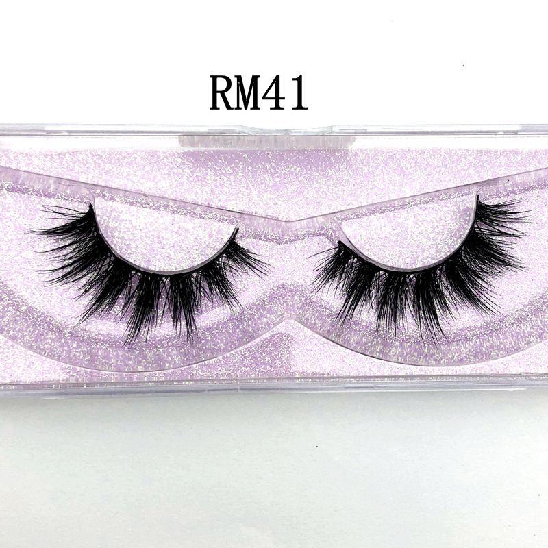 Mikiwi Luxury Natural 5D Mink Hair False Eyelashes Wispy Cross Fluffy Mink Lashes Makeup Tools Makeup Thin Mink Eyelashes