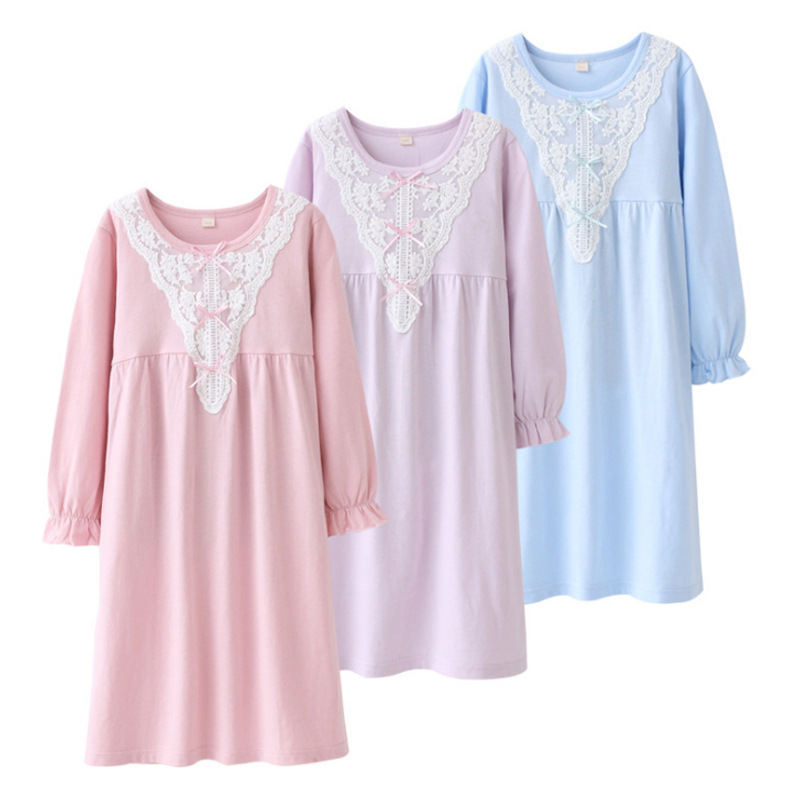Girls' Pajama Pure Cotton 2019 Autumn And Winter Air Conditioning Clothes GIRL'S Nightgown Girls Dress Tracksuit Long Sleeve
