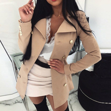 LOOZYKIT Women Coat Solid Color Slim Buttons Jacket Casual Femme Long Sleeve Jacket Suit Blazers New Style Ladies Top Clothes