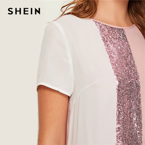 Image 2 - SHEIN Sequin Detail Colorblock Tunic Short Dress Women Keyhole Back Short Sleeve Round Neck Straight Loose Casual Dresses