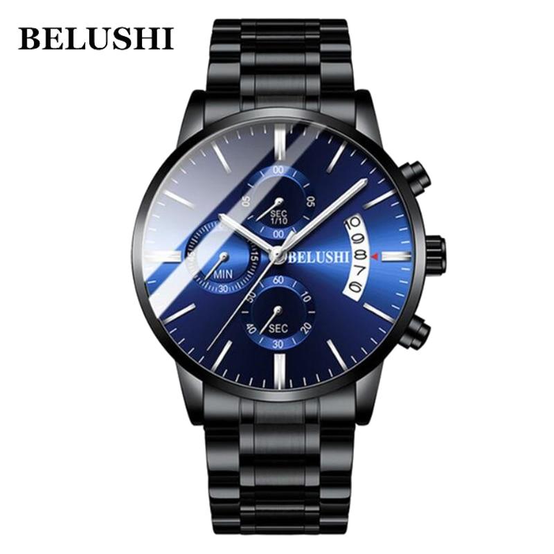 Auto Date Mens Watches Luxury Black Steel 316L Steel Quartz Men's Wristwatches Waterproof Creative BELUSHI Brand Man Watch