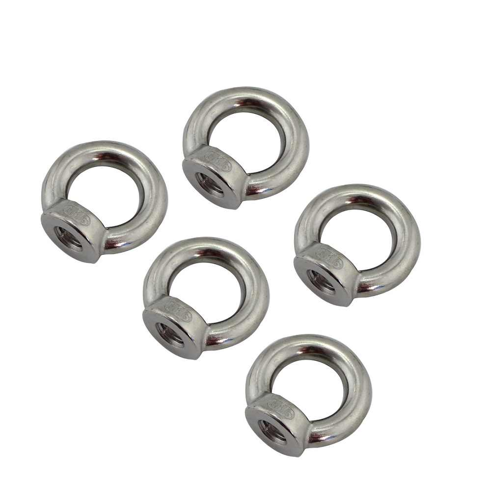 5 個 DIN582 持ち上げるナットループ穴リング糸ナットステンレス鋼 304 と 316 M5 M6 M8 M10 m12 海洋ロープ昇降