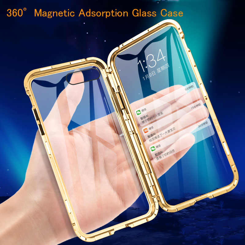 Front +Back 360 Magnetic Adsorption Metal Glass Case For iPhone 7 8 6 Plus Phone Case For iphone 11 Pro Max XR X XS Max Cover