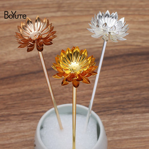 BoYuTe (10 Pieces/Lot) 30MM Metal Brass Chrysanthemum Hair Stick Materials Diy Handmade Bridal Hair Jewelry Accessories(China)