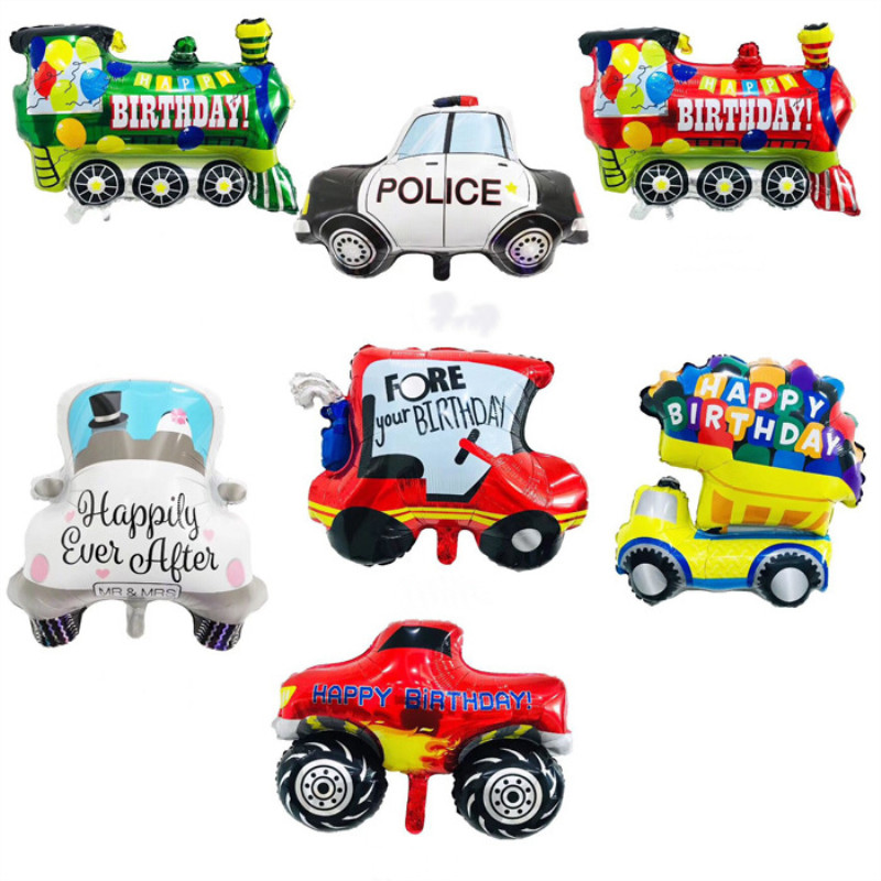 DIY Cartoon Car Ballon Train Airplane Foil Balloon Police Car Globos Children Gifts Birthday Party Hat Decorations Kids Balls