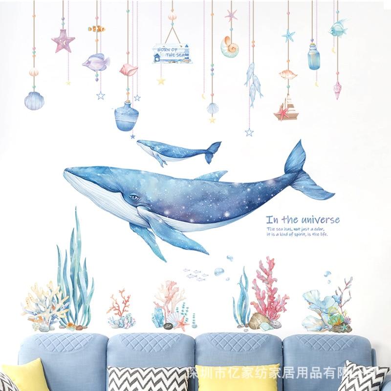 Креативная Настенная Наклейка «морской Кит», коралл, «сделай сам», морской мир для детской комнаты, спальни, декоративные обои, домашняя рос...