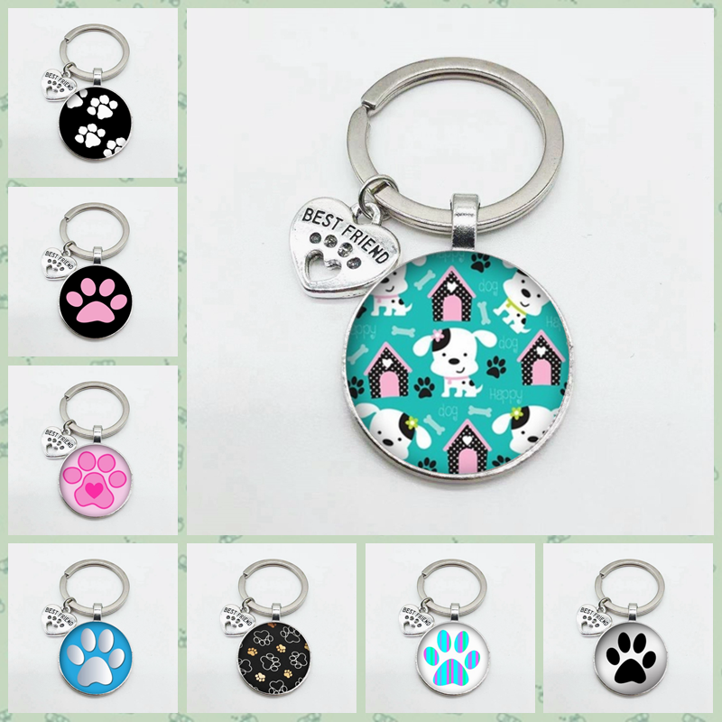 Super cute puppy footprints keychain cat footprints keychain best friends heart-shaped pendant car keychain pendant jewelry image