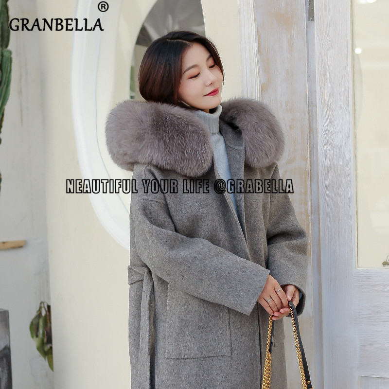 2019 Double-sided Wool Overcoat With Natural Fox Fur Trim Hooded Coat Casual Winter  Loose  Woolen Overcoat Cashmere Coat