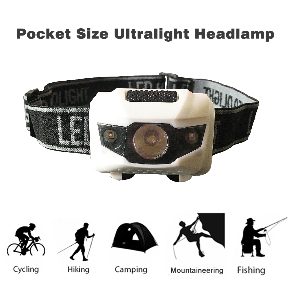 AAA Battery Red White Light 4 Mode Lightweight Waterproof Headlight LED Camping Head Lamp Running Head Light Headlamp