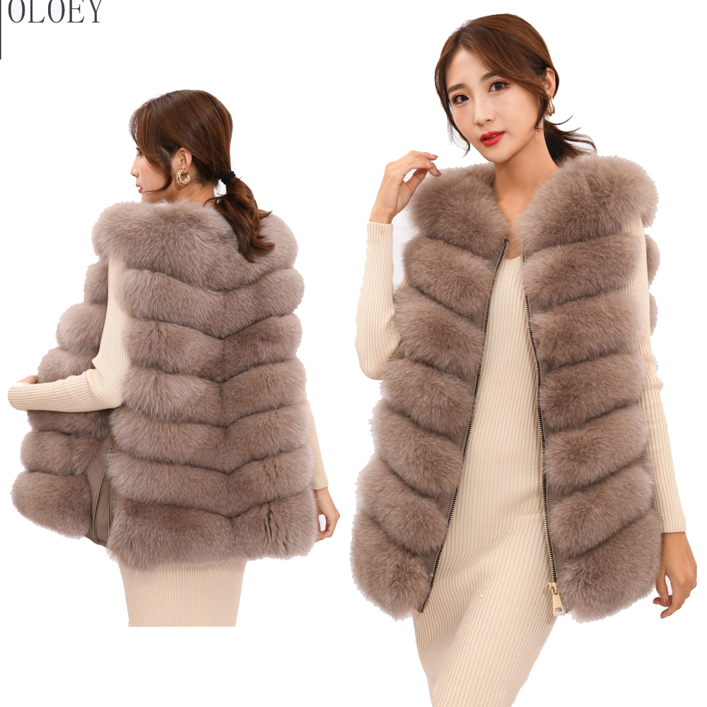 2019 New Women's Winter Real Fox Fur Vest, Real Fox Fur Jacket, 100% Natural Real Fur Coat, High Quality Stylish Warm Sleeveless