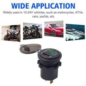 Image 3 - Nueva toma de corriente del adaptador del enchufe del cargador del USB de 5V a con voltímetro de la pantalla de corriente del voltaje para 12 24V coche barco camión motocicleta