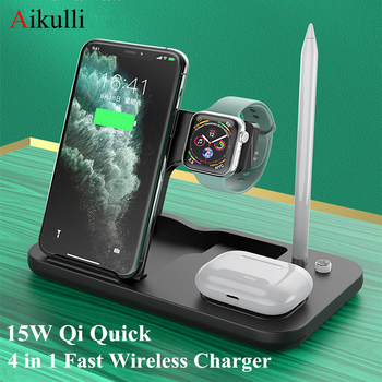 Aikulli 15W Qi Wireless Charger 4 in 1 Fast Charging Stand For iPhone 12 11 Pro XS Apple Watch 5 4 3 AirPods 2 Pro Pencil Charge