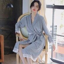 ฤดูใบไม้ร่วงฤดูหนาวหญิงเสื้อคลุมอาบน้ำเซ็กซี่ Kimono Bath Robe ชุดนอนผู้หญิง Dressing Gown Nightgown ชุดนอน & Robe