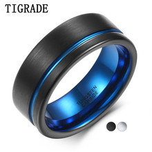 TIGRADE Black and Blue 8mm Wide Mens Ring Tungsten Carbide Wedding Band With Comfort Fit Silver, Line Brand anillo hombre