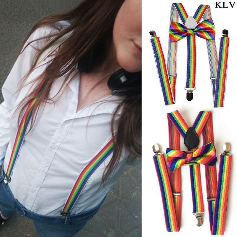 Fashion Bow Tie Strap Clip Set Rainbow Striped Leading Knot Adult Unisex Bib Pants Replacement Straps Accessories