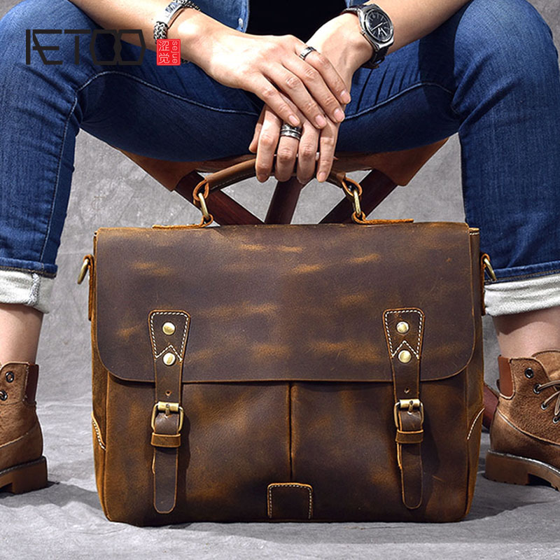 Retro Men's Crazy Horse Skin Messenger Bag Portable Leather Briefcase Leather Shoulder Crossbody Bag