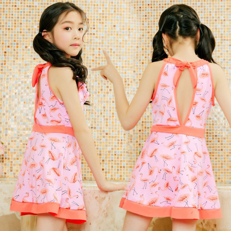 Currently Available Wholesale Children Hot Springs Bathing Suit Girls One-piece Sun-resistant Training Bathing Suit Big Kid Stud