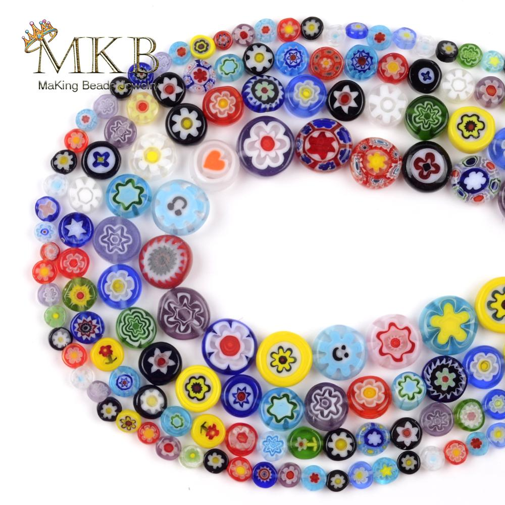 """Millefiori Glass Beads Mixed Color Flat Disc Oblate Round Beads For Jewelry Making 4-10mm Spacer Loose Beads Fit Diy Bracelet15""""(China)"""