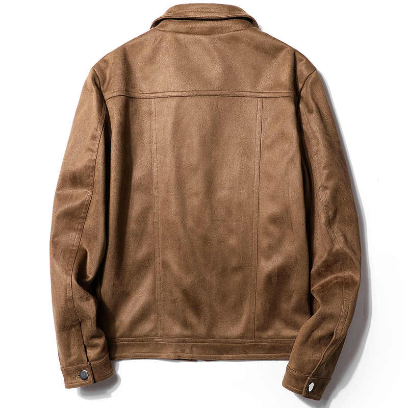 Gaaj hed35 남성 자켓 가짜 가죽 패션 브라운 봄 가을 작업자 전술 코트 턴 다운 칼라 겉옷 자켓 남성