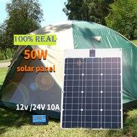 Boguang marka güneş pili esnek GÜNEŞ PANELI 50W 12V 24v denetleyici + 10A güneş sistemi kitleri balıkçılık için tekne kabin kamp