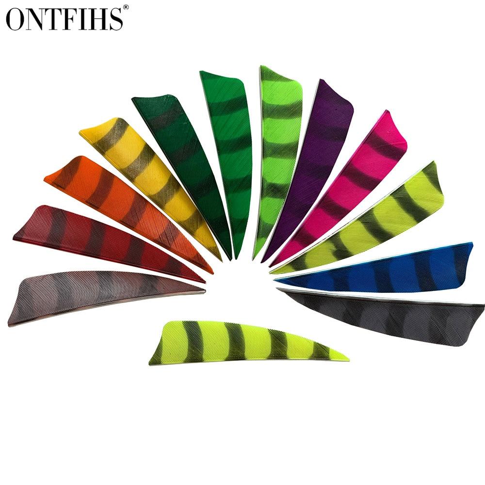 50 Pcs ONTFIHS New 3 Inch Arrow Feather Fletching Stripe Double Side Streak Vane Fletches Feathers Archery