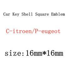 2 шт.-10 шт./лот 16x16 мм корпус автомобильного ключа квадратная эмблема символ наклейка логотип для P-eugeot для C-itroen
